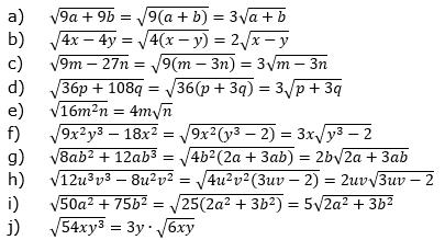 Teilweises Wurzelziehen Lösungen zum Aufgabensatz 3 Blatt 02/© by www.fit-in-mathe-online.de