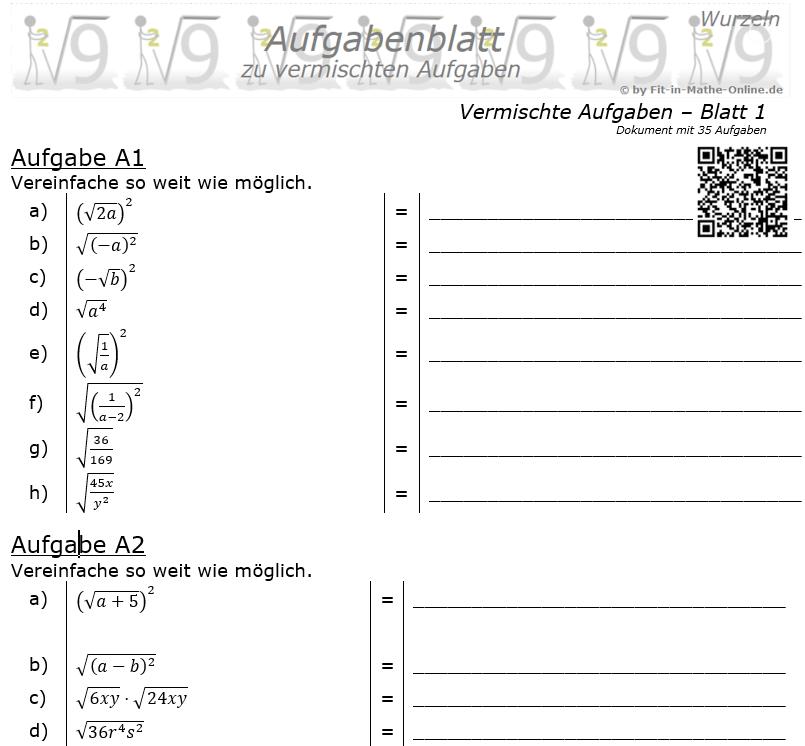 Vermischte Aufgaben mit Wurzeln Aufgabenblatt 1 / © by Fit-in-Mathe-Online.de