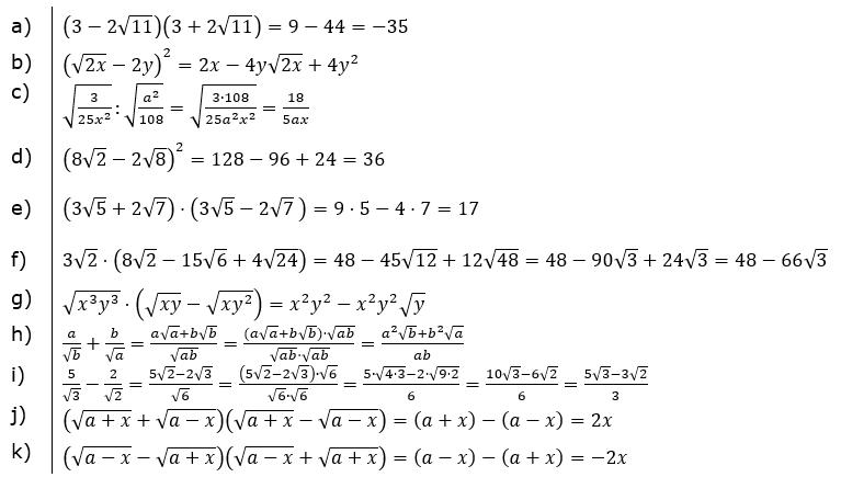 Vermischte Aufgaben mit Wurzeln Lösungen zum Aufgabensatz 4 Blatt 01x© by www.fit-in-mathe-online.de