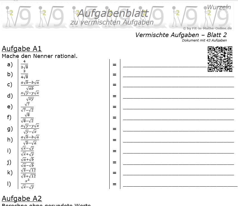 Vermischte Aufgaben mit Wurzeln Aufgabenblatt 2 / © by Fit-in-Mathe-Online.de