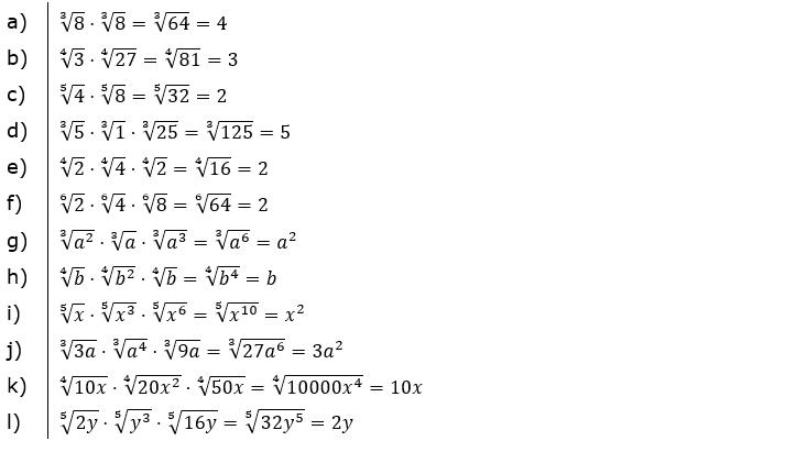 Vermischte Aufgaben mit Wurzeln Lösungen zum Aufgabensatz 2 Blatt 02© by www.fit-in-mathe-online.de