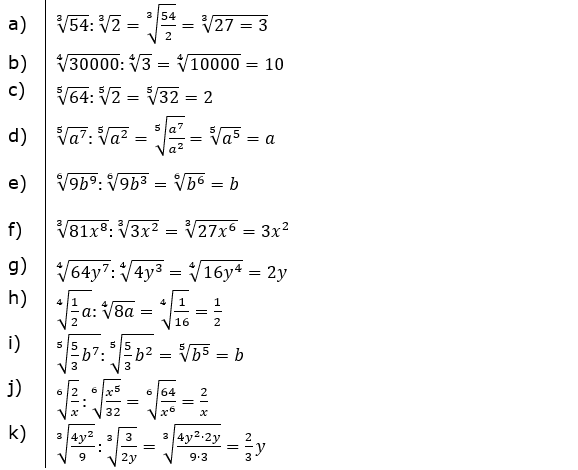 Vermischte Aufgaben mit Wurzeln Lösungen zum Aufgabensatz 3 Blatt 02© by www.fit-in-mathe-online.de