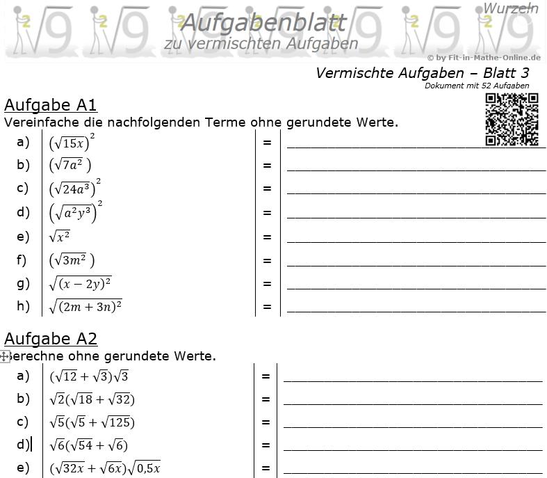 Vermischte Aufgaben mit Wurzeln Aufgabenblatt 3 / © by Fit-in-Mathe-Online.de