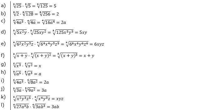 Vermischte Aufgaben mit Wurzeln Lösungen zum Aufgabensatz 3 Blatt 03© by www.fit-in-mathe-online.de