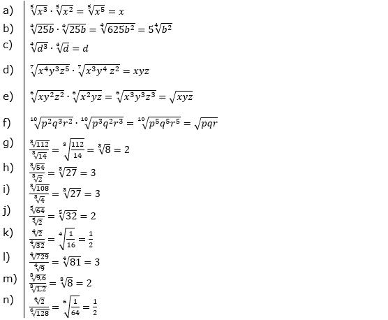 Vermischte Aufgaben mit Wurzeln Lösungen zum Aufgabensatz 4 Blatt 03© by www.fit-in-mathe-online.de