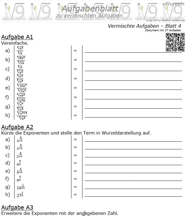 Vermischte Aufgaben mit Wurzeln Aufgabenblatt 4 / © by Fit-in-Mathe-Online.de