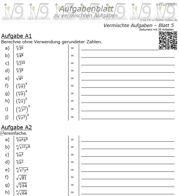 Vermischte Aufgaben mit Wurzeln Aufgabenblatt 5 / © by Fit-in-Mathe-Online.de