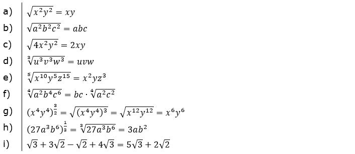 Vermischte Aufgaben mit Wurzeln Lösungen zum Aufgabensatz 1 Blatt 06/© by www.fit-in-mathe-online.de