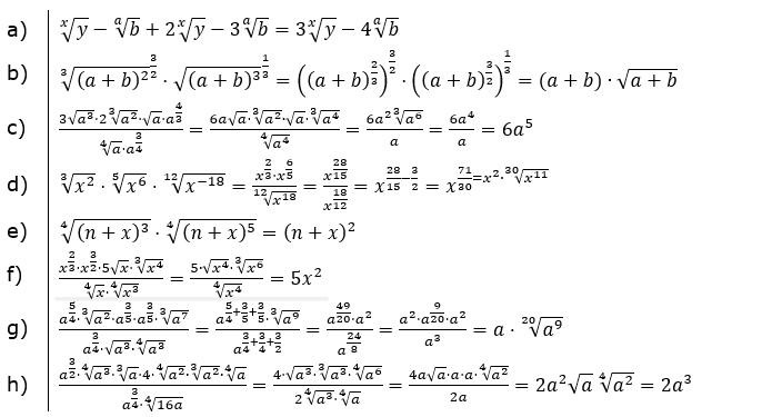 Vermischte Aufgaben mit Wurzeln Lösungen zum Aufgabensatz 2 Blatt 06/© by www.fit-in-mathe-online.de