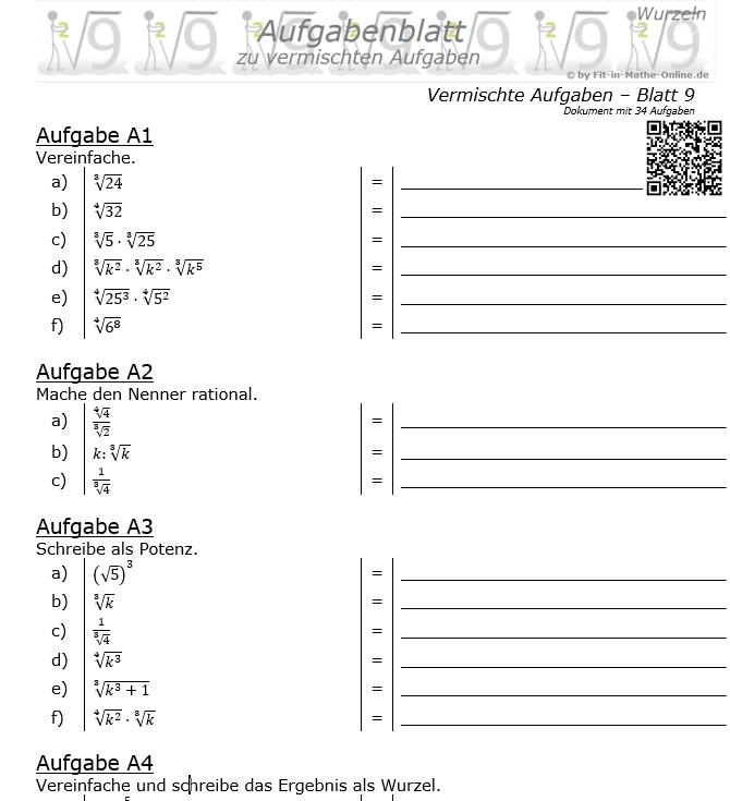 Vermischte Aufgaben mit Wurzeln Aufgabenblatt 9 / © by Fit-in-Mathe-Online.de