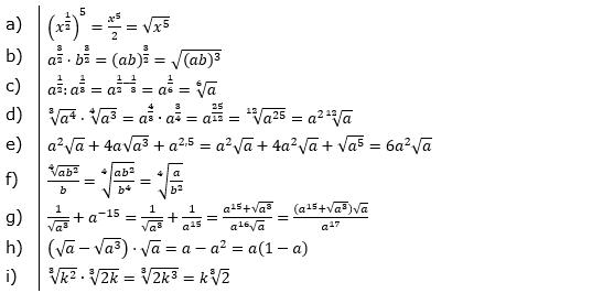 Vermischte Aufgaben mit Wurzeln Lösungen zum Aufgabensatz 4 Blatt 09© by www.fit-in-mathe-online.de