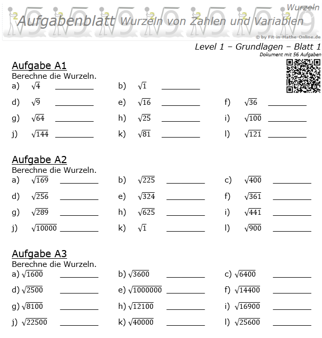 Wurzeln von Zahlen und Variablen Aufgabenblatt 01 Grundlagen 1/1 / © by Fit-in-Mathe-Online.de