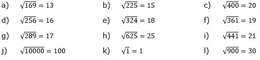 Wurzeln von Zahlen und Variablen Lösungen zum Aufgabensatz 2 Blatt 1/1 Grundlagen/© by www.fit-in-mathe-online.de