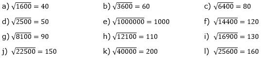 Wurzeln von Zahlen und Variablen Lösungen zum Aufgabensatz 3 Blatt 1/1 Grundlagen/© by www.fit-in-mathe-online.de