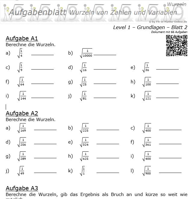 Wurzeln von Zahlen und Variablen Aufgabenblatt 02 Grundlagen 1/2 / © by Fit-in-Mathe-Online.de