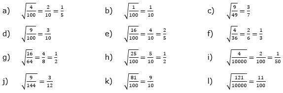Wurzeln von Zahlen und Variablen Lösungen zum Aufgabensatz 3 Blatt 1/2 Grundlagen/© by www.fit-in-mathe-online.de