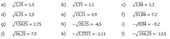 Wurzeln von Zahlen und Variablen Lösungen zum Aufgabensatz 5 Blatt 1/2 Grundlagen/© by www.fit-in-mathe-online.de