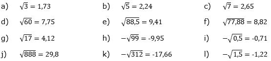 Wurzeln von Zahlen und Variablen Lösungen zum Aufgabensatz 6 Blatt 1/2 Grundlagen/© by www.fit-in-mathe-online.de