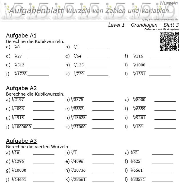Wurzeln von Zahlen und Variablen Aufgabenblatt 03 Grundlagen 1/3 / © by Fit-in-Mathe-Online.de
