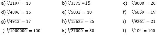 Wurzeln von Zahlen und Variablen Lösungen zum Aufgabensatz 2 Blatt 1/3 Grundlagen/© by www.fit-in-mathe-online.de