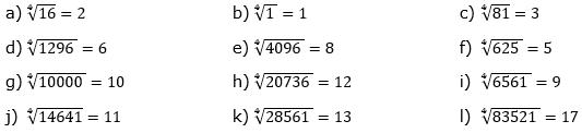 Wurzeln von Zahlen und Variablen Lösungen zum Aufgabensatz 3 Blatt 1/3 Grundlagen/© by www.fit-in-mathe-online.de