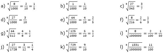 Wurzeln von Zahlen und Variablen Lösungen zum Aufgabensatz 6 Blatt 1/3 Grundlagen/© by www.fit-in-mathe-online.de
