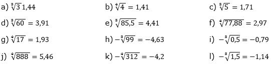 Wurzeln von Zahlen und Variablen Lösungen zum Aufgabensatz 8 Blatt 1/3 Grundlagen/© by www.fit-in-mathe-online.de