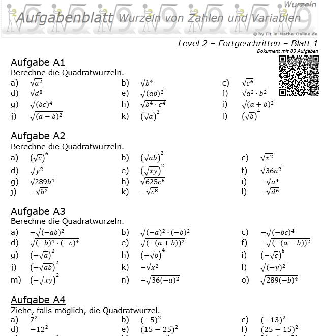Wurzeln von Zahlen und Variablen Aufgabenblatt 01 Fortgeschritten 2/1 / © by Fit-in-Mathe-Online.de