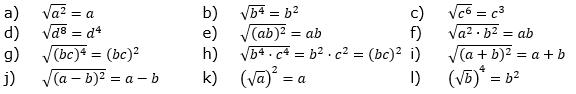 Wurzeln von Zahlen und Variablen Lösungen zum Aufgabensatz 1 Blatt 2/1 Fortgeschritten/© by www.fit-in-mathe-online.de