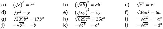 Wurzeln von Zahlen und Variablen Lösungen zum Aufgabensatz 2 Blatt 2/1 Fortgeschritten/© by www.fit-in-mathe-online.de