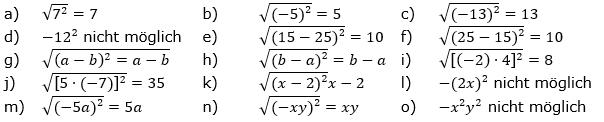 Wurzeln von Zahlen und Variablen Lösungen zum Aufgabensatz 4 Blatt 2/1 Fortgeschritten/© by www.fit-in-mathe-online.de