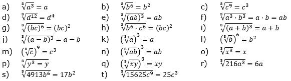 Wurzeln von Zahlen und Variablen Lösungen zum Aufgabensatz 5 Blatt 2/1 Fortgeschritten/© by www.fit-in-mathe-online.de