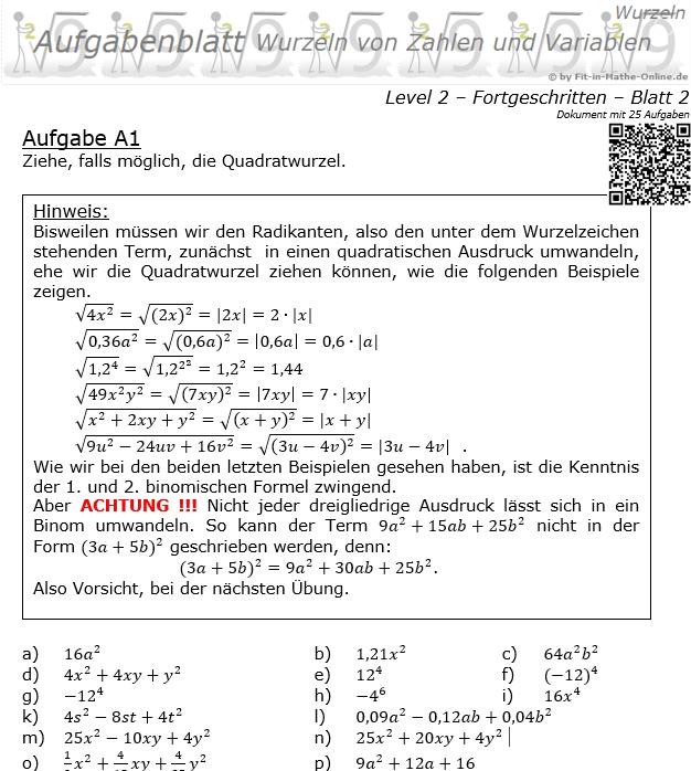 Wurzeln von Zahlen und Variablen Aufgabenblatt 02 Fortgeschritten 2/2 / © by Fit-in-Mathe-Online.de