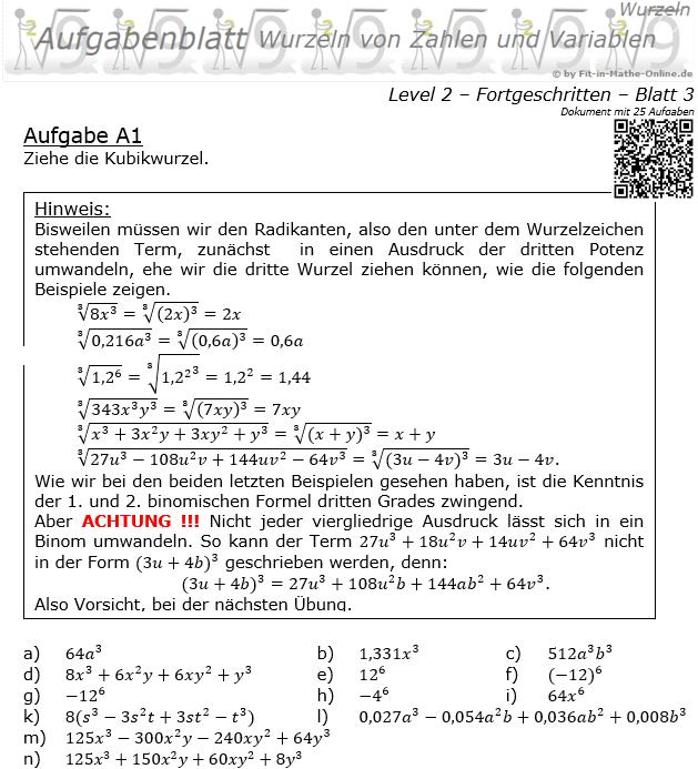 Wurzeln von Zahlen und Variablen Aufgabenblatt 03 Fortgeschritten 2/3 / © by Fit-in-Mathe-Online.de
