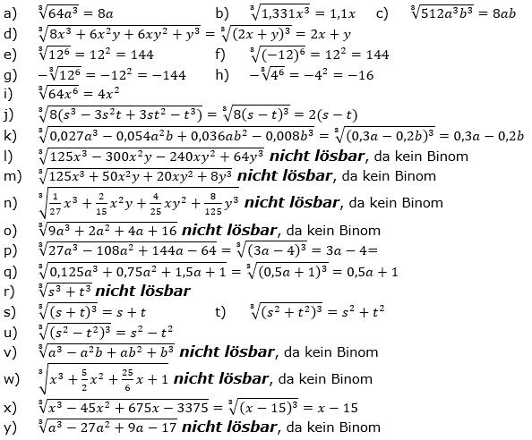Wurzeln von Zahlen und Variablen Lösungen zum Aufgabensatz 1 Blatt 2/3 Fortgeschritten/© by www.fit-in-mathe-online.de